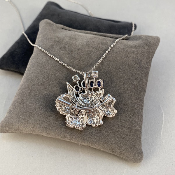 1950's, Platinum, Sapphire and Diamond stone set Pendant/Brooch, SHAPIRO & Co since1979 - image 6