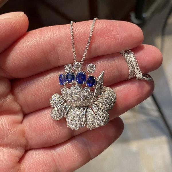 1950's, Platinum, Sapphire and Diamond stone set Pendant/Brooch, SHAPIRO & Co since1979 - image 1