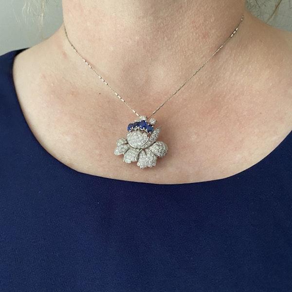 1950's, Platinum, Sapphire and Diamond stone set Pendant/Brooch, SHAPIRO & Co since1979 - image 2