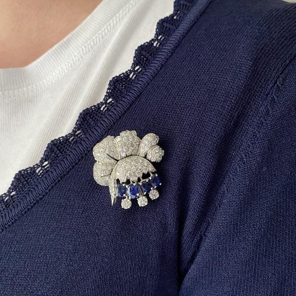 1950's, Platinum, Sapphire and Diamond stone set Pendant/Brooch, SHAPIRO & Co since1979 - image 3