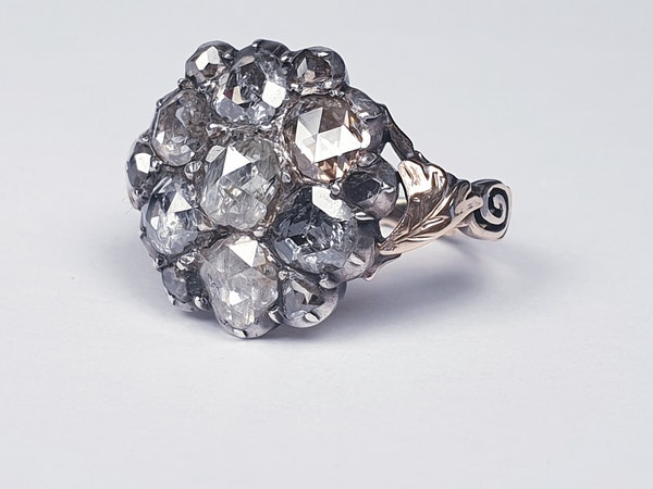 18th Century Rose Diamond Button Cluster Ring  DBGEMS - image 2