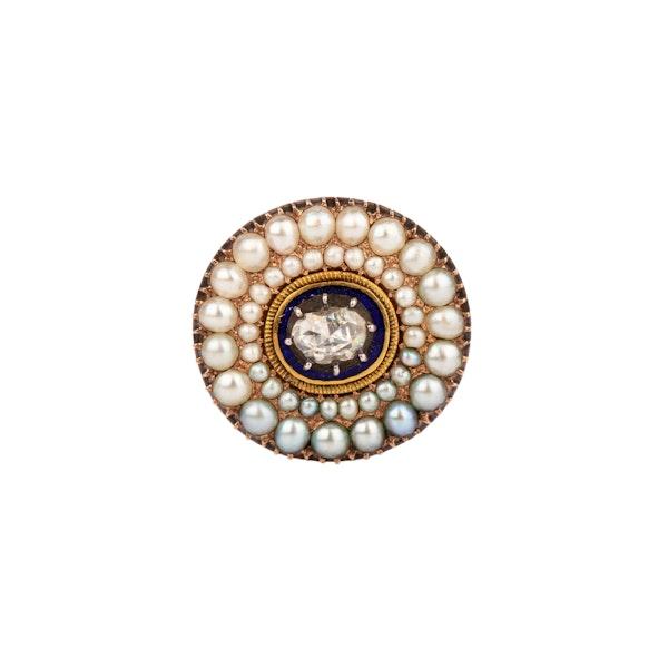 Georgian diamond pearl enamel brooch - image 1