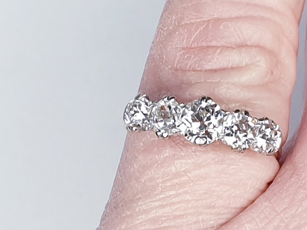 Antique five stone diamond engagement ring 4457   DBGEMS - image 4