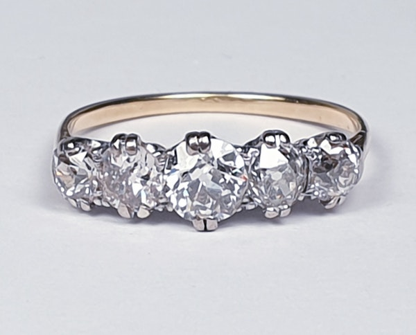 Antique five stone diamond engagement ring 4457   DBGEMS - image 3