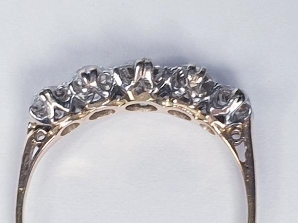 Antique five stone diamond engagement ring 4457   DBGEMS - image 2