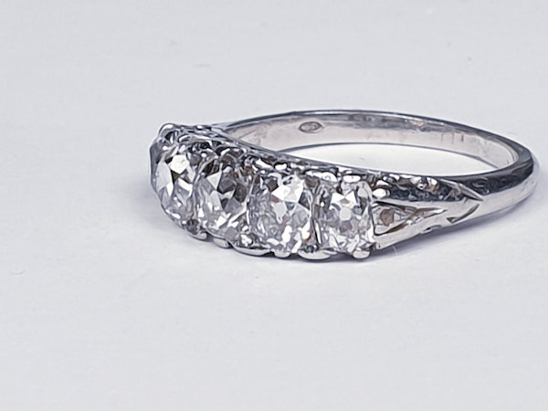 Platinum carved half hoop engagement ring  DBGEMS - image 2