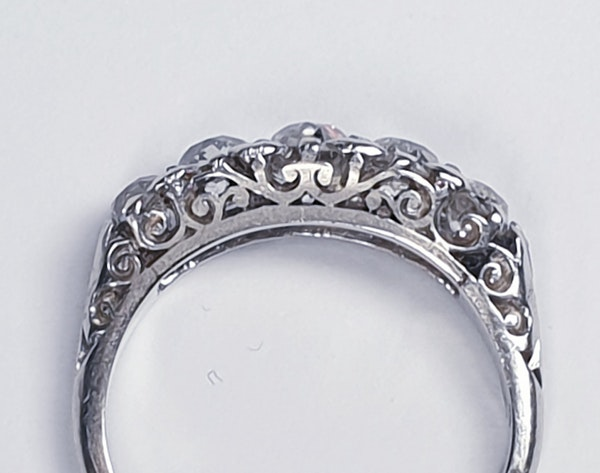 Platinum carved half hoop engagement ring  DBGEMS - image 3