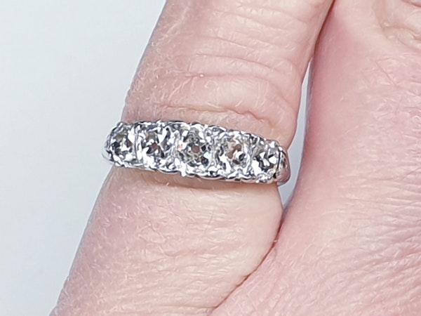 Platinum carved half hoop engagement ring  DBGEMS - image 1