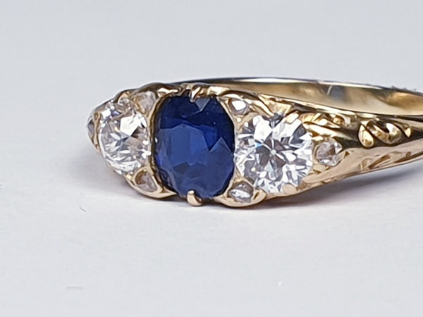 Sapphire and diamond carved half hoop engagement ring  DBGEMS - image 4