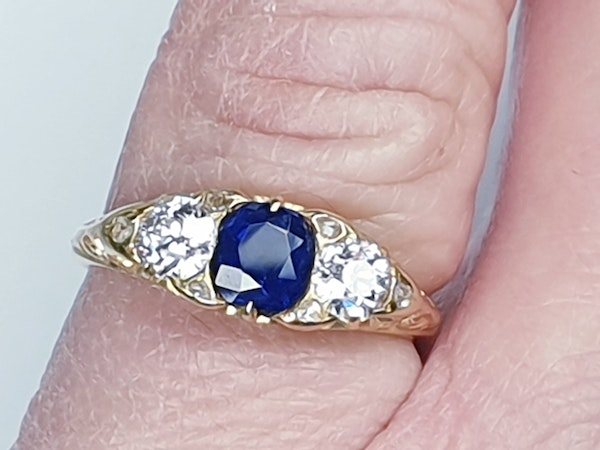 Sapphire and diamond carved half hoop engagement ring  DBGEMS - image 1