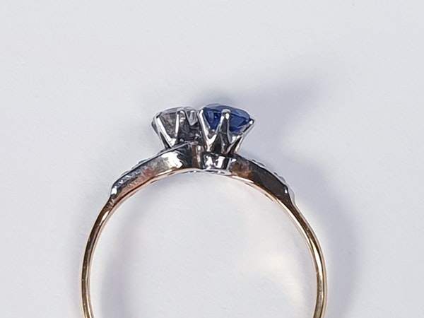 Edwardian Sapphire and Diamond Cross Over Ring  DBGEMS - image 3