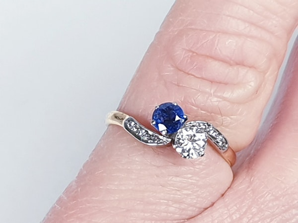 Edwardian Sapphire and Diamond Cross Over Ring  DBGEMS - image 2