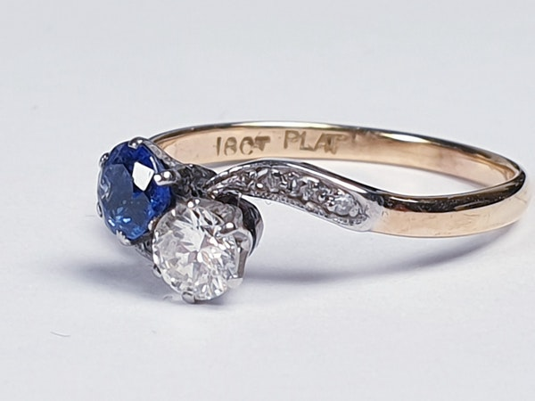 Edwardian Sapphire and Diamond Cross Over Ring  DBGEMS - image 1