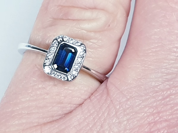 Emerald Cut Sapphire and Diamond Engagement Ring  DBGEMS - image 3