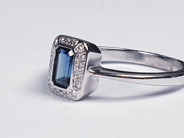 Emerald Cut Sapphire and Diamond Engagement Ring  DBGEMS - image 5