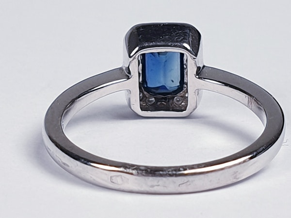 Emerald Cut Sapphire and Diamond Engagement Ring  DBGEMS - image 1