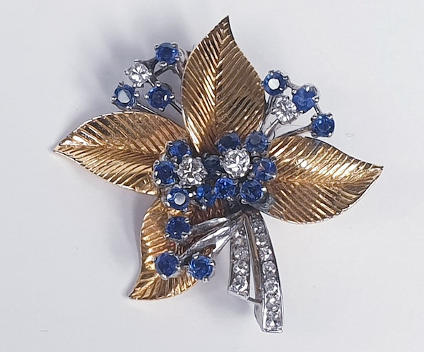 1940's Sapphire and diamond bouquet brooch  DBGEMS - image 1