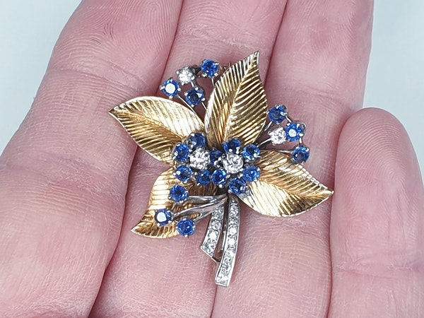 1940's Sapphire and diamond bouquet brooch  DBGEMS - image 3