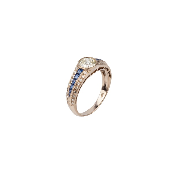 Diamond sapphire Deco style ring - image 1