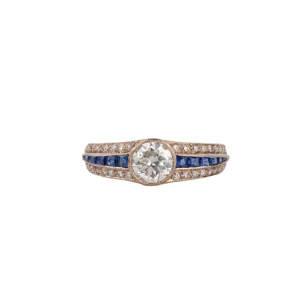 Diamond sapphire Deco style ring - image 2