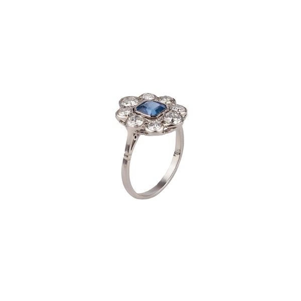 Art Deco style sapphire diamond platinum ring - image 1
