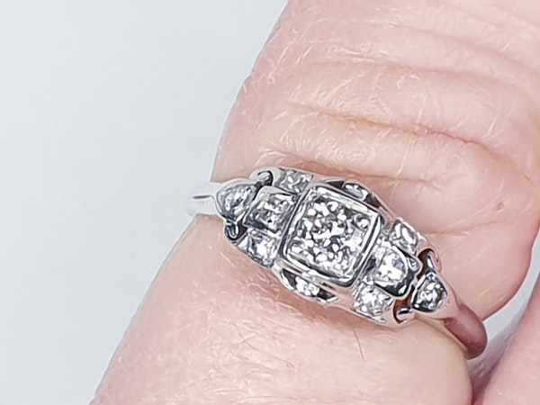 Cool Art Deco Diamond Engagement Ring  DBGEMS - image 2