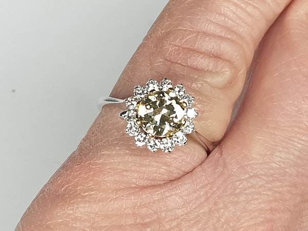 Fancy yellow old European transitional cut diamond engagement ring  DBGEMS - image 4