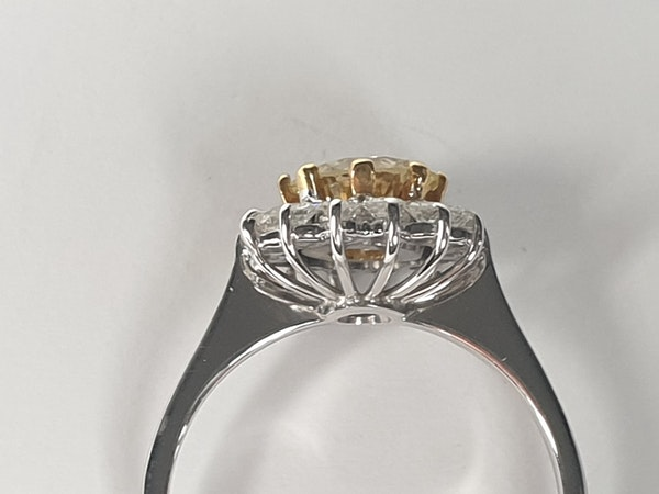 Fancy yellow old European transitional cut diamond engagement ring  DBGEMS - image 2