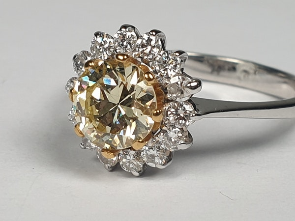 Fancy yellow old European transitional cut diamond engagement ring  DBGEMS - image 5