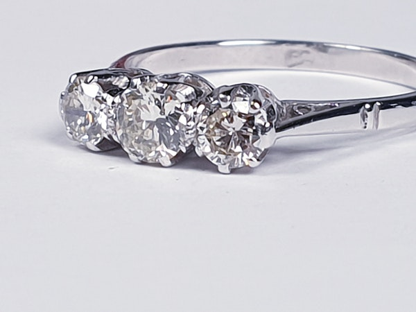 Antique Three Stone Diamond Ring  DBGEMS - image 5