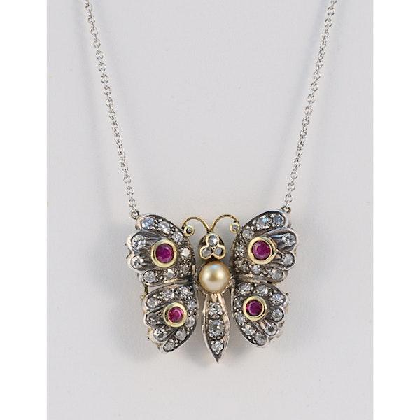 Date: circa 1910, 18ct Yellow/White Gold, Diamond, Ruby and Pearl stone set Pendant, SHAPIRO & Co since 1979 - image 1