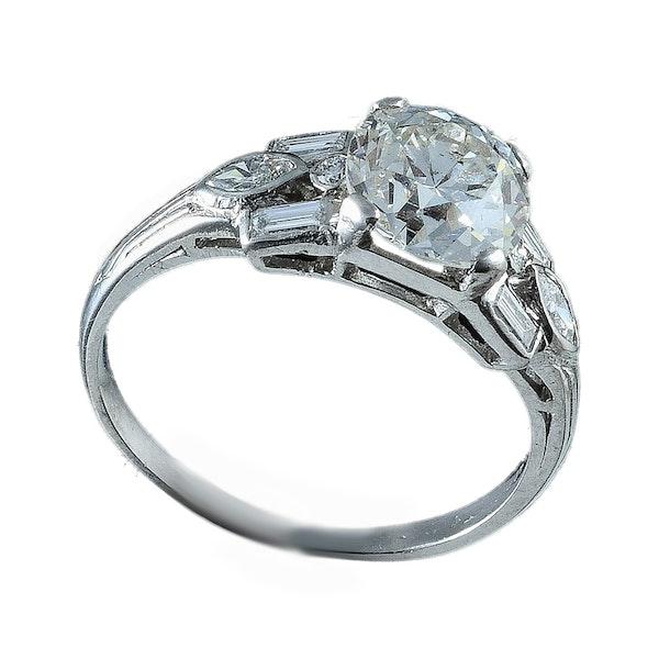 MM6231r diamond deco single  stone 1.50ct ring platinum set - image 1