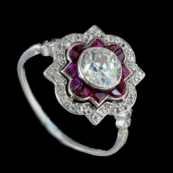 MM6268r ruby diamond platinum set Art Deco ring 1920c - image 2