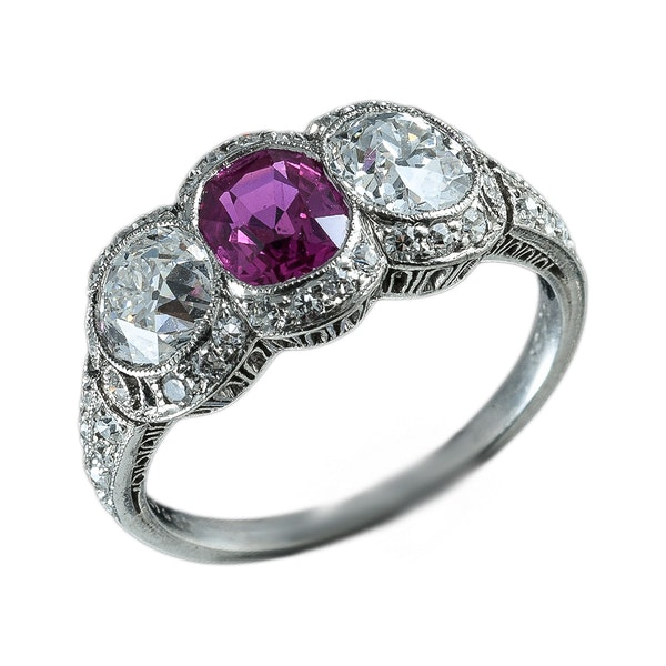 MM6213r Platinum natural Burmese  ruby diamond Edwardian ring  by Caldwell - image 1