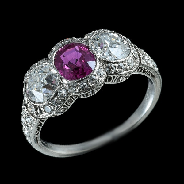 MM6213r Platinum natural Burmese  ruby diamond Edwardian ring  by Caldwell - image 2