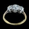 MM6272r Victorian three stone 18ct yellow gold ring with cushion old cut diamonds 1890c - image 2