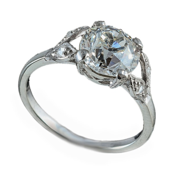 MM6254r platinum single stone  ring 2.23ct diamond split shoulders 1910c - image 1
