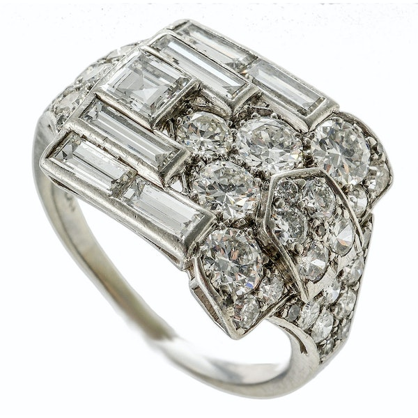 MM4092r platinum baguette and round diamond fine quality Art Deco 1930c wrap over ring - image 1