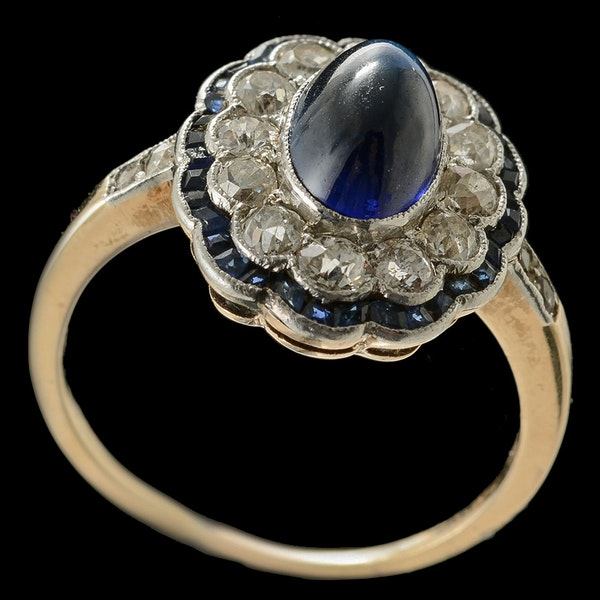 MM4776r cab sapphire and diamond art Deco ring gold and platinum fine quality 1910/20c - image 2