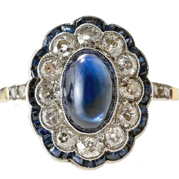 MM4776r cab sapphire and diamond art Deco ring gold and platinum fine quality 1910/20c - image 3