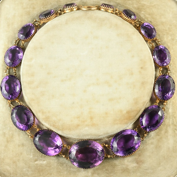 MM6388n Victorian Amethyst gold collar fine quality 1880c - image 1