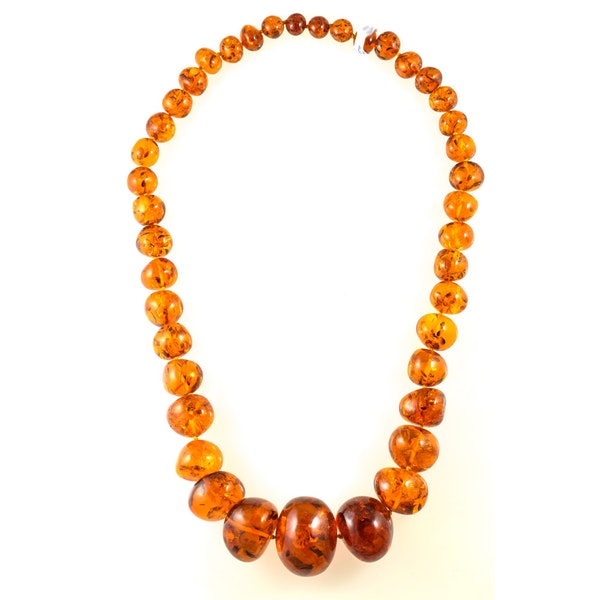 MM6487n Amazing large Amber bead necklace rare and stunning - image 1