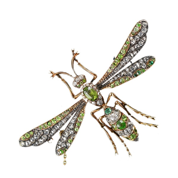 MM6150br Victorian green garnet diamond insect brooch unusual example 1880c. - image 1