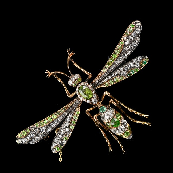 MM6150br Victorian green garnet diamond insect brooch unusual example 1880c. - image 2