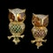 MM6206br Pair of gold citrine diamond and emerald owl brooch - image 1