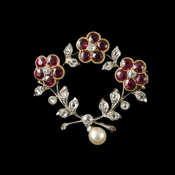 MM6400b Fine quality ruby diamond and pearl Edwardian 1910c brooch - image 1