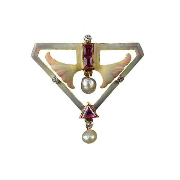 MM6413b Art Nouveau enamel ruby  diamond pearl brooch fine quality 1900c - image 1