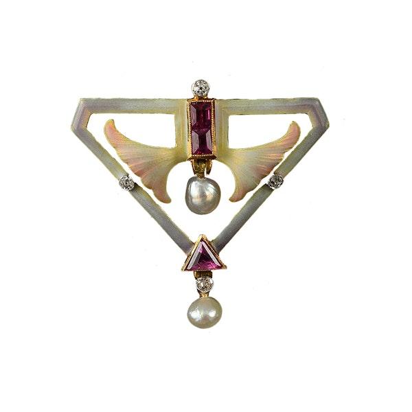 MM6413b Art Nouveau enamel ruby diamond pearl brooch fine quality 1900c - image 1