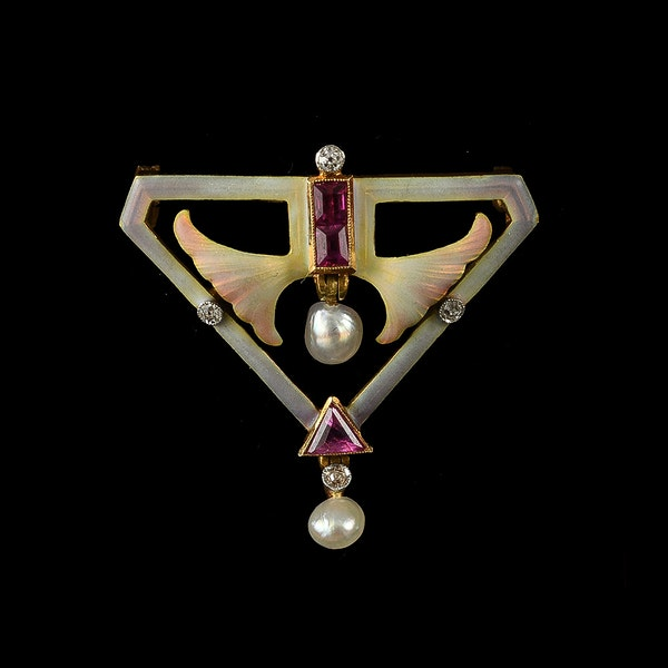 MM6413b Art Nouveau enamel ruby  diamond pearl brooch fine quality 1900c - image 2