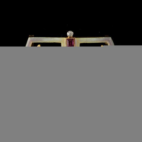 MM6413b Art Nouveau enamel ruby diamond pearl brooch fine quality 1900c - image 2